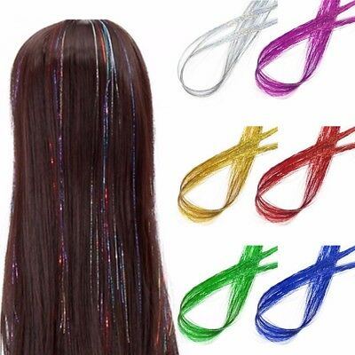 Synthetic Holographic Long Hair Tinsel Sparkle Glitter Extensions Highlight