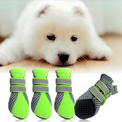 4pcs Pet Shoes Waterproof Rubber Anti-slip Mesh Boot Booties Cat Small Dog Puppy