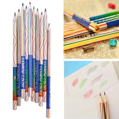 10pcs Rainbow Color 4 in 1 Colored Drawing Painting Pencils Pens Gifts for Kids