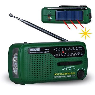 DE13 FM MW SW Crank Dynamo Solar Emergency Radio World Multiband Receiver SN9F