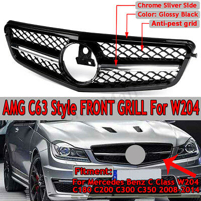 C63 AMG Style Gloss Black Grill Grille For C-Class Benz W204 C300 C350 2008-2014