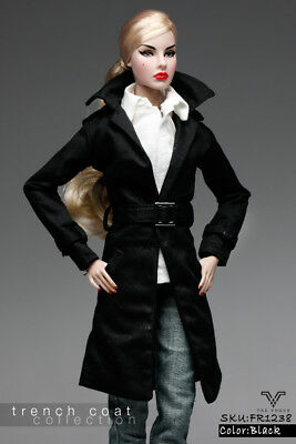 FR1238 Black Fashion Mid Trench Coat for  Fashion Royalty FR2 (Coat Only)