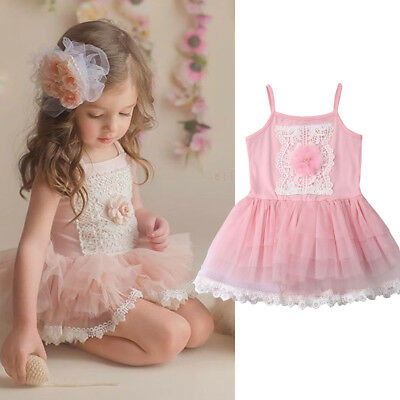 Toddler Baby Girls Clothes Strap Tutu Ballet Dress Lace Party Princess Sundress