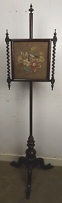 Antique Regency Rosewood Tapestry Needlework Pole Screen Fire Screen