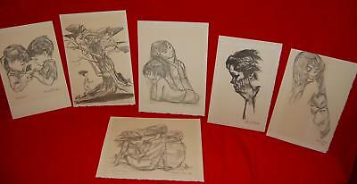 Chuck Jones 6 Art Drawings Collectables Animation artest PSA certs Ltd. Editions