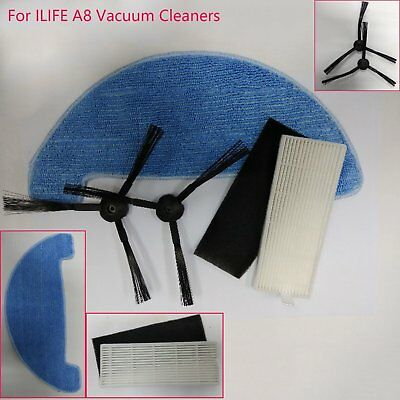 For ILIFE A8 Vacuum Cleaners 2 PCS HEPA Filters + 2 PCS Side Brushes + 1 PC Rag