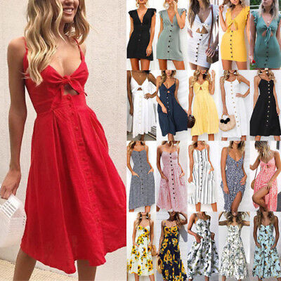 Women's Beach Holiday Button Down Dress Summer Strappy Swing Midi Sundress AU