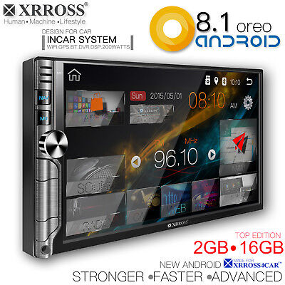XRROSS Android 8.1 Car audio player auto radio  GPS Wifi BT Double Din 2GB+16GB