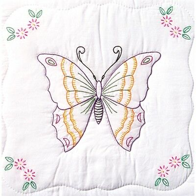 "Jack Dempsey Stamped White Quilt Blocks 18""x18"" 6/pkg-butterfly"