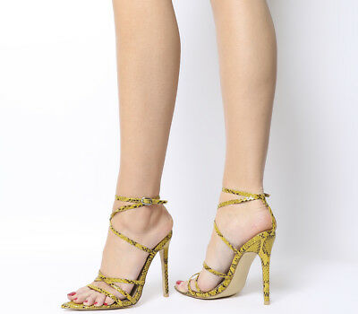 Womens Ego Kaia Strappy Heels Neon Yellow Snake Heels