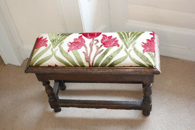 CHARLES II OAK JOINT STOOL with Fabric inset panel
