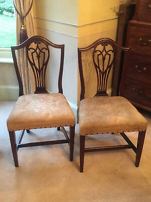 A pair of George III Hepplewhite side chairs, possibly American