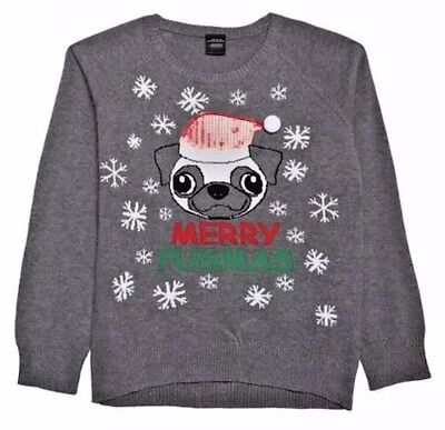 Kids Christmas Sweater Merry Pugmas Pug Dog Ugly Xmas Knit Top Youth XS NWT