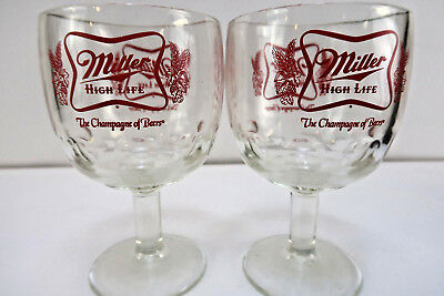 Vintage pair (2) of Miller High Life 12 oz. Heavy Thumbprint Footed Beer Goblets