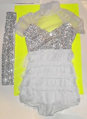 Art Stone white sequin dance costume dress size adult small Jazz Tap