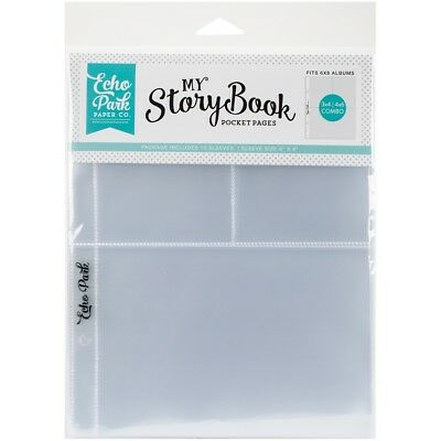 """My Story Book Album Pocket Pages 6""""x8"""" 10/pkg-(1) 4""""x6"""" & (2) 3""""x4"""" Openings"""