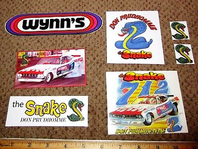 SALE Lot of Don Prudhomme:Snake & Mongoose Novelty Gloss Stickers Orig WYNNs '70