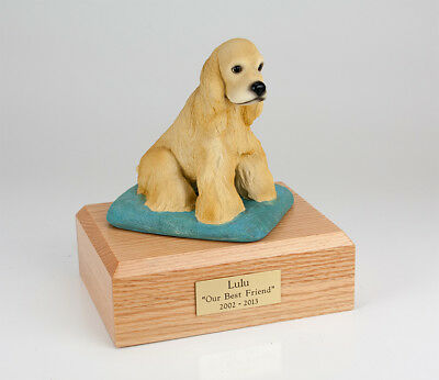 Blonde Cocker Pet Funeral Cremation Urn Available in 3 Diff Colors & 4 Sizes