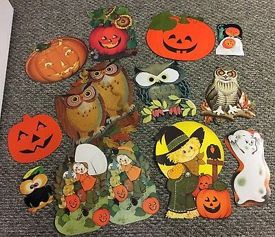 Vtg Halloween Owls Pumpkin Scarecrow Die Cut Wall Decorations Posters Lot Eureka