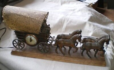 Unique Old HORSES & Stagecoach WAGON Light LAMP and CLOCK Brass / Wood