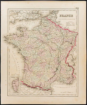 Carte ancienne et rare (1857) de la France [Colton]. Antique Map of France
