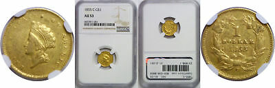 1855-C $1 Gold Coin NGC AU-53