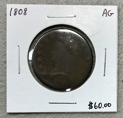 1808 U.s. Classic Head Large Cent ~ Ag Condition! $2.95 Max Shipping! C940
