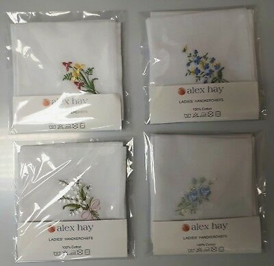 Ladies Handkerchiefs, White with Flower Embroideries Pack of 6, Assorted Colours