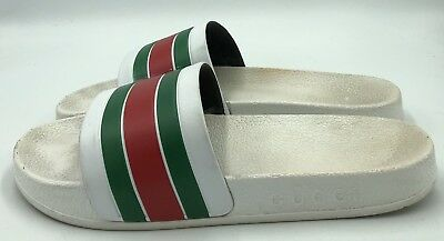 ec56ac7bc23a5e GUCCI MENS SLIDES Sandals White Green Red Size 44 EU US 11 -  50.00 ...