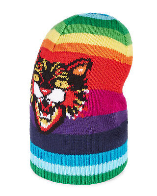 dad3b51d243f New Authentic Gucci Striped Rainbow Wool Hat w Angry Cat Beanie L 59 NWT