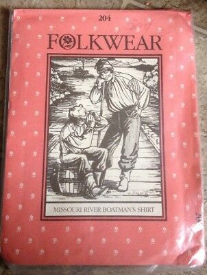 FOLKWEAR PATTERN 204 MISSOURI RIVER BOATMAN'S SHIRT UNCUT Factory Folded