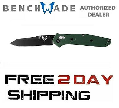 Benchmade 940BK Knife Reverse Tanto Osborne Black Blade Green Handle Plain Edge