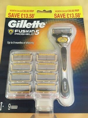 Gillette Fusion 5 Proshield Razor And 9 Blades New (Without Packaging)