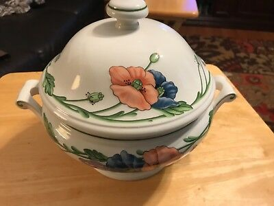 Villeroy Boch Amapola Round Covered Vegetable Serving Bowl Soup Tureen W Lid