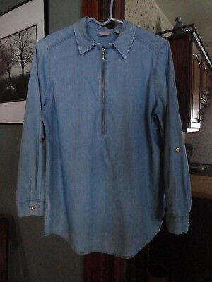 bda464cc83 CHICO S INDIGO CHAMBRAY DENIM COTTON TENCEL Zippered tunic Top Blouse Size 1