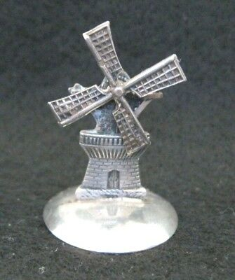 "ANTIQUE/VTG SILVER MINIATURE WINDMILL~STAMPED 833/AxM~ROTATING BLADES~1 3/8"" T"
