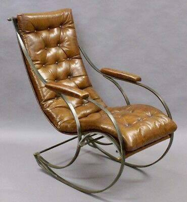 A Steel And Leather Rocking Chair By R.w.Winfield