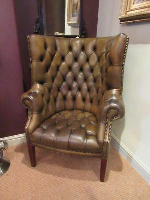 Superb Edwardian Leather Porter's Wing Armchair