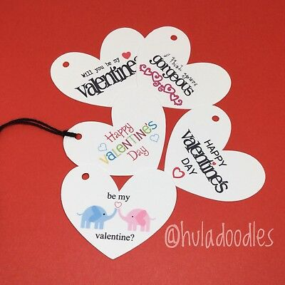 Valentines Day Gift Tags Heart Shaped With Ties, Choose Single Design Or Mix