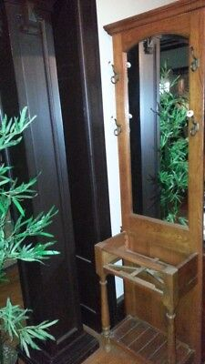 Vintage Hall Tree Mirror,  umbrella stand tall excellent mirror, solid wood 125.