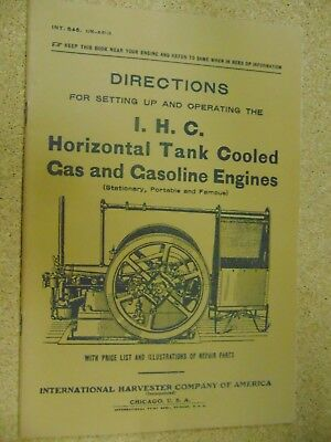 directions for setting up & operating ihc horizontal tank cooled gas engines