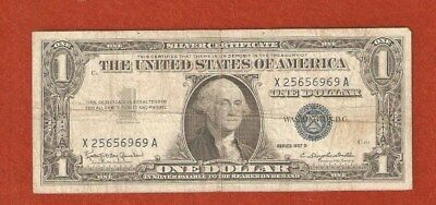 1957 United States Silver Certificate One Dollar Bank Note Well Circulated E201