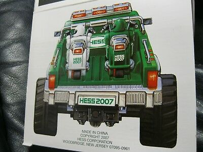 2007 Hess Toy Monster Truck W/motorcycles