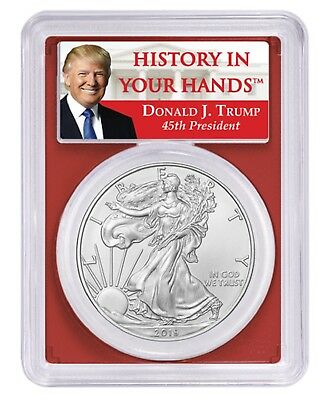 2019 1oz Silver Eagle PCGS MS69 Red Frame - Donald Trump Label