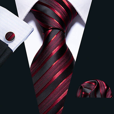 Silk Tie for Men Necktie Wine Red Burgundy Black Stripes Classic Tie Set Wedding