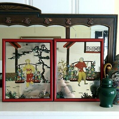 Antique Chinese Reverse Painted Mirror Pair Vintage Set Asian Collectible Art