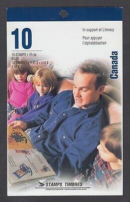 CANADA BOOKLET BK193a 10 x 45c+5c SURCHARGE LITERACY GLUED FLAP NO TI
