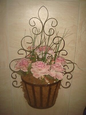 Vintage wrought iron metal wall basket planter artificial roses