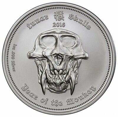 2016 Republic Of Palau - Year Of The Monkey - 1 oz Silver Lunar Skulls Coin