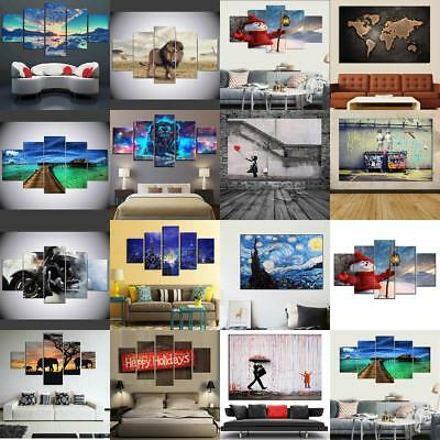 Large 1/5Set Modern Abstract Canvas Painting Art Oil Picture Home Wall Decor DIY